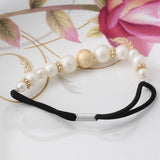 Pearls Elastic Hair Band (Gold White)