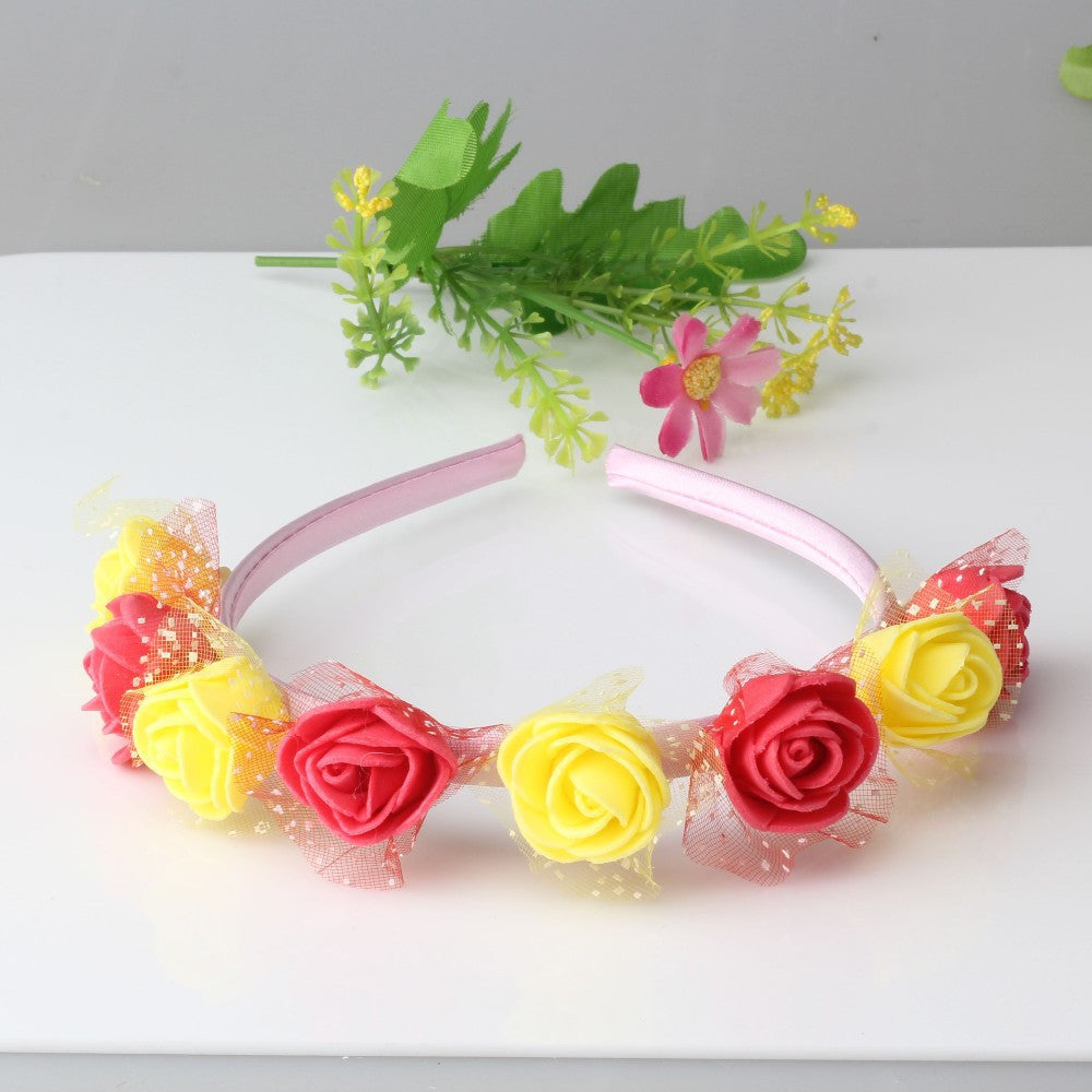 Bohemian Style Wreath Twin Flower Hair Band (Yellow Red) | meemu.com | Kids fashion, accessories