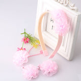 Bloom Flower Hair Band & Girls Hair Clip (4 pieces set) (Pink)