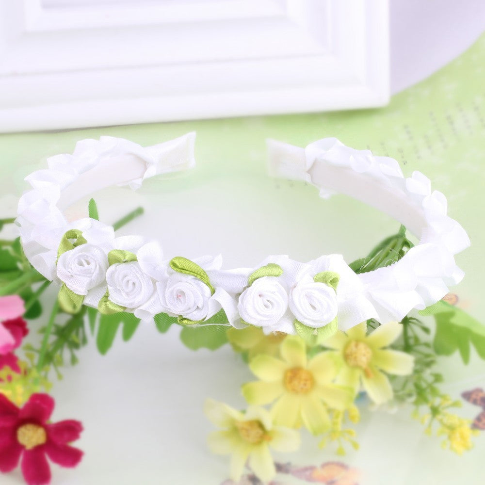 White Ribbon Flower Girls Hair Bands | meemu.com | Kids fashion, accessories