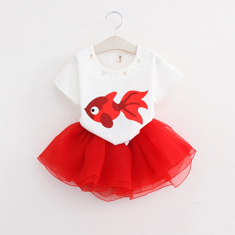 Red & White Fishy Skirt Set | meemu.com | Kids fashion, accessories