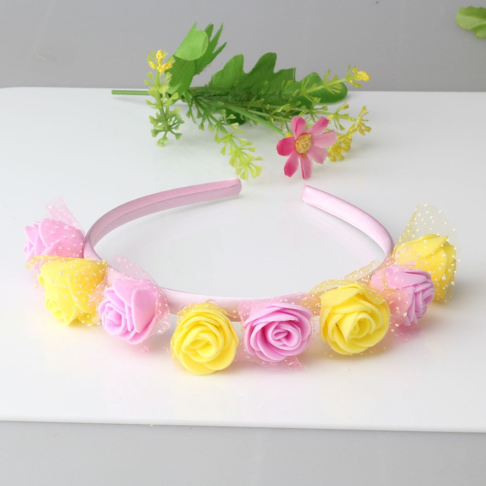 Bohemian Style Wreath Twin Flower Hair Band (Yellow Pink) | meemu.com | Kids fashion, accessories