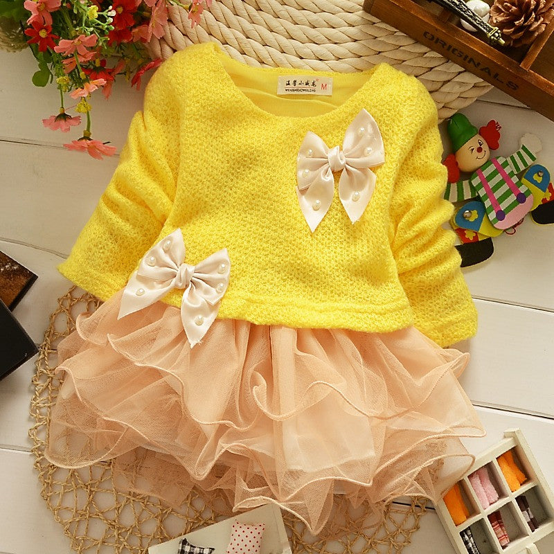 Cute Little Girls Princess Dress Clothes Long Sleeve Knitted Top Lace Bow Dress | meemu.com | Kids fashion, accessories