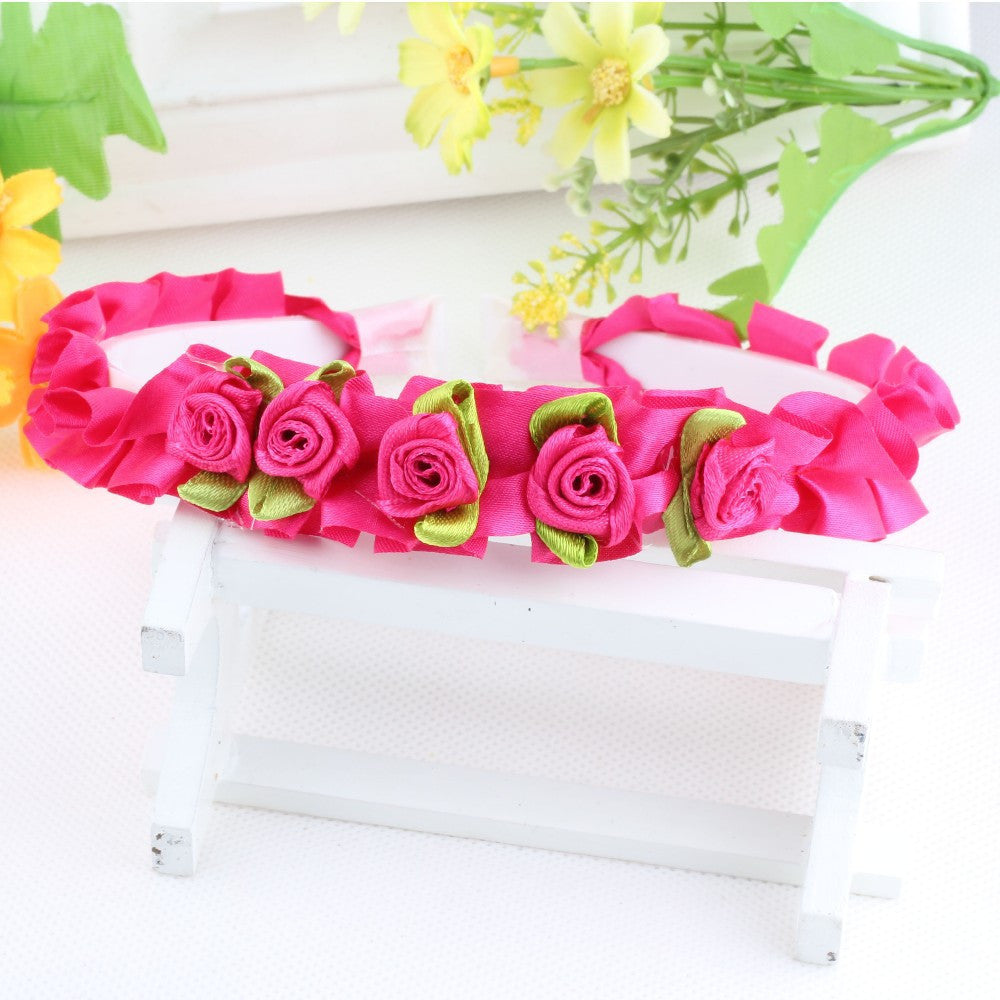 Rose Red Ribbon Flower Girls Hair Bands | meemu.com | Kids fashion, accessories