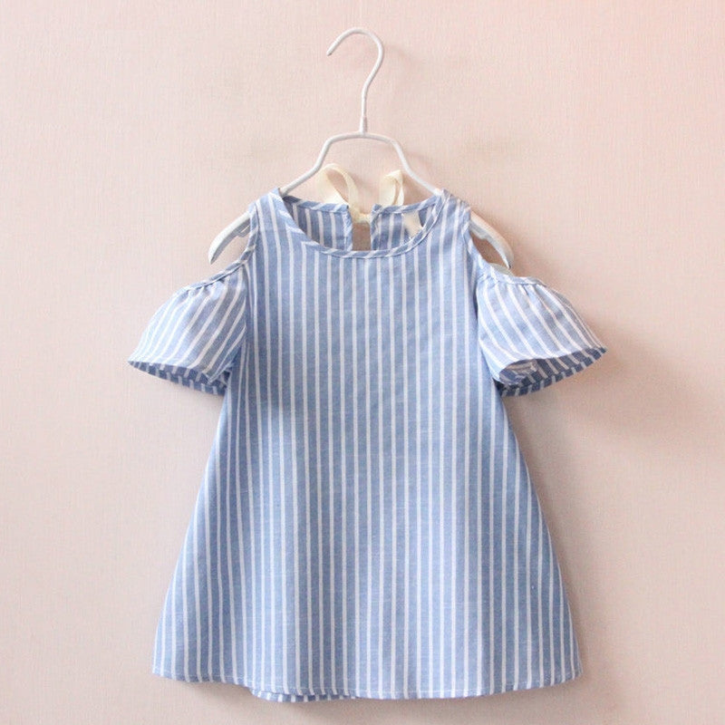 Striped Cold Shoulder Dress | meemu.com | Kids fashion, accessories