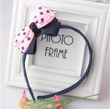 Bow Hair Band Girls Headband Sweet Pattern Dots-Knot (Navy Pink)