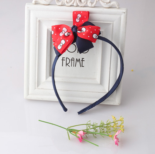Bow Hair Band Girls Headband Sweet Pattern Bow Bow-Knot (Navy Red) | meemu.com | Kids fashion, accessories