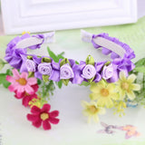 Purple Ribbon Flower Girls Hair Bands