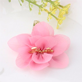 Chiffon Flower Smile Letter Hairpins (Pink)