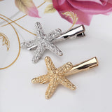 Exquisite Starfish Rhinestone Hairpins (Gold)