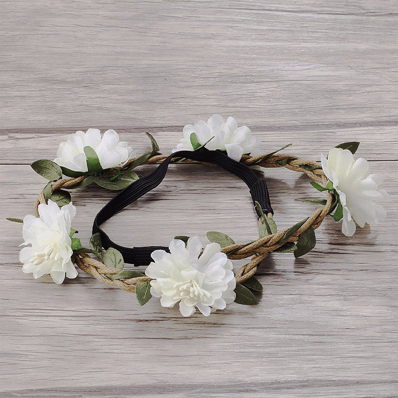 Bohemia Flowers Headband (White) - meemu
