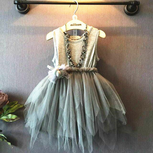 Puffy Grey Veil Dress | meemu.com | Kids fashion, accessories