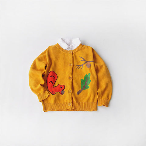 Squirrel Print Soft Sweater | meemu.com | Kids fashion, accessories