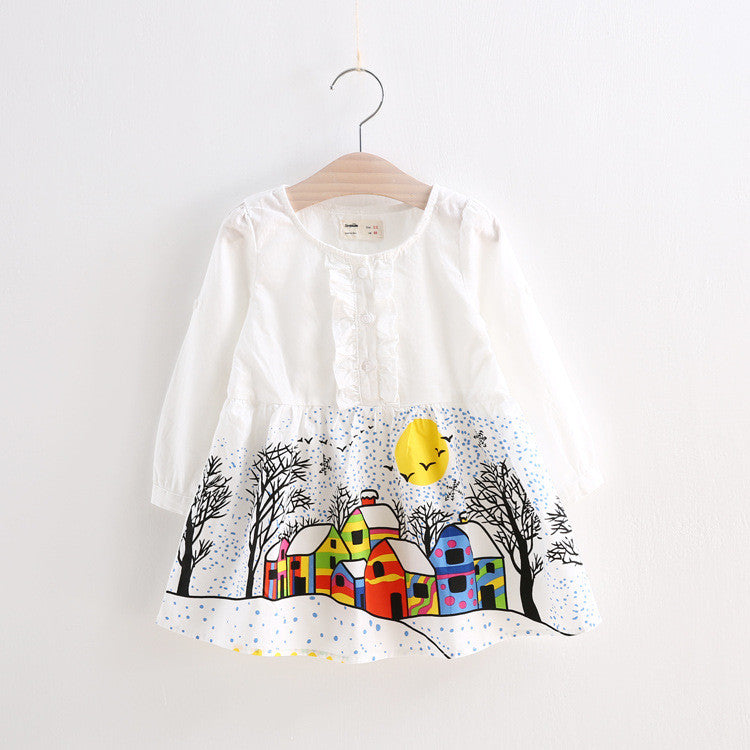 Elegant White Printed Autumn Dress | meemu.com | Kids fashion, accessories