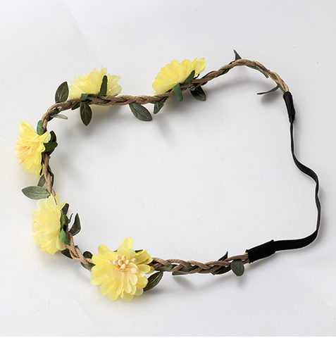 Bohemia Flowers Headband (Yellow) - meemu