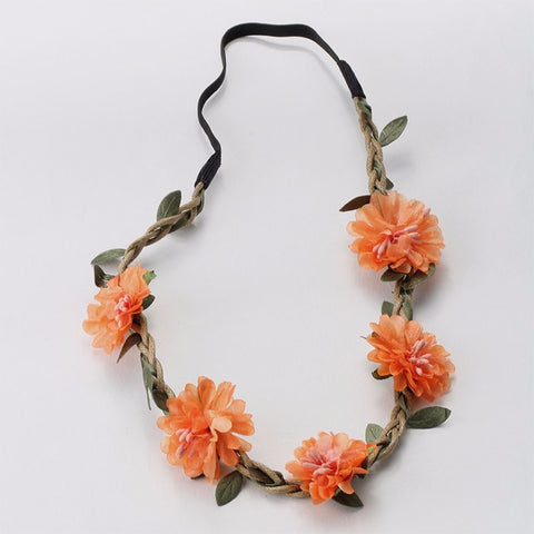 Bohemia Flowers Headband (Dark Orange) - meemu