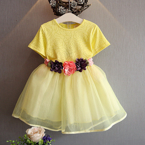 Yellow Party Dress with Floral Belt | meemu.com | Kids fashion, accessories