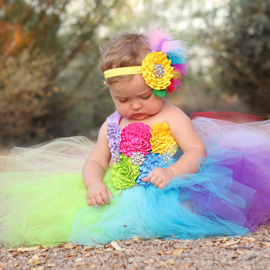 Full Rainbow Tutu Dress Crochet Baby Tulle Dress with Headband 1st Birthday | meemu.com | Kids fashion, accessories