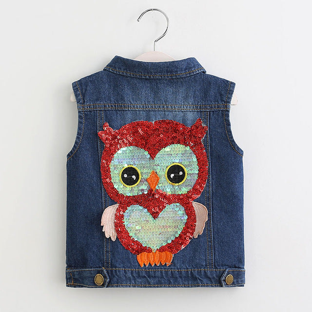 Owl Print Denim Styled Waistcoat | meemu.com | Kids fashion, accessories