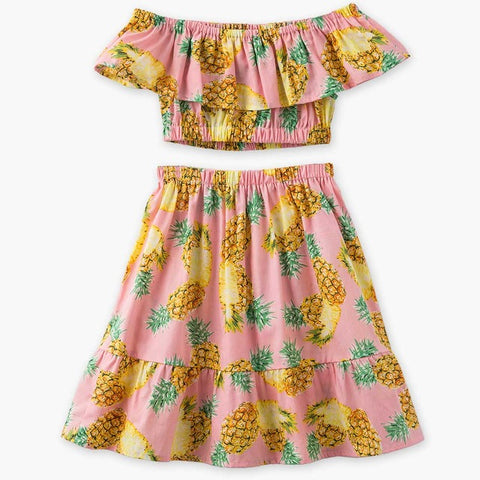 Tropical Pineapple Short Sleeves Off Shoulder Top Skirt Set - meemu