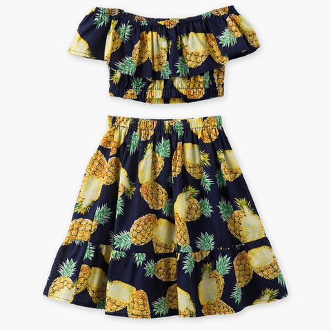 Tropical Pineapple Short Sleeves Off Shoulder Top Skirt Set