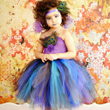 Princess Girls Peacock Feather Tutu Dress
