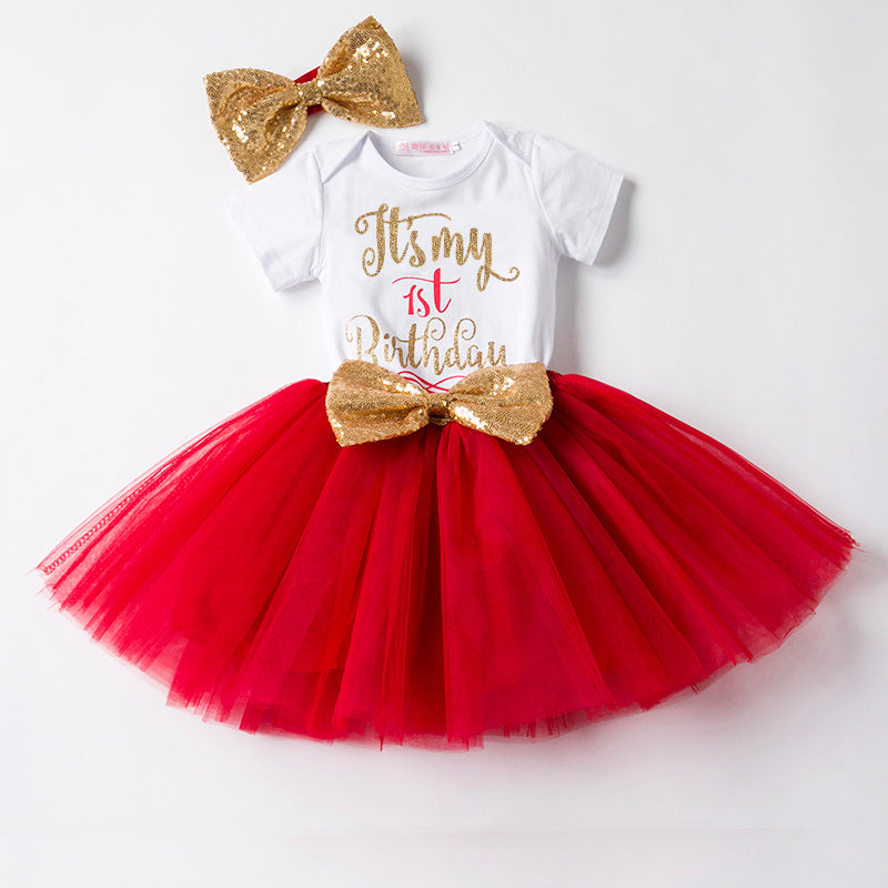 My First Bday Dress Red (with headband, stockings) | meemu.com | Kids fashion, accessories