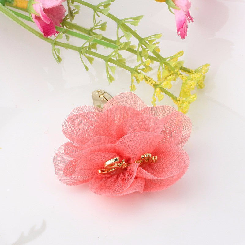 Chiffon Flower Smile Letter Hairpins (Watermelon) | meemu.com | Kids fashion, accessories