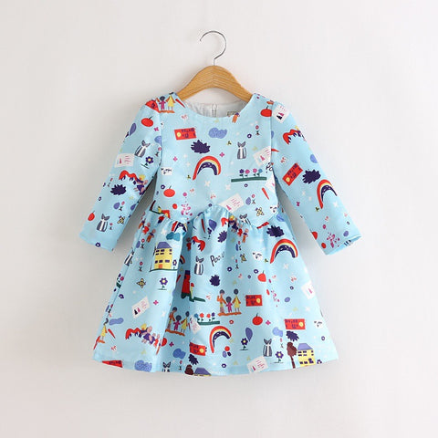 Rainbow Print Dress Blue | meemu.com | Kids fashion, accessories