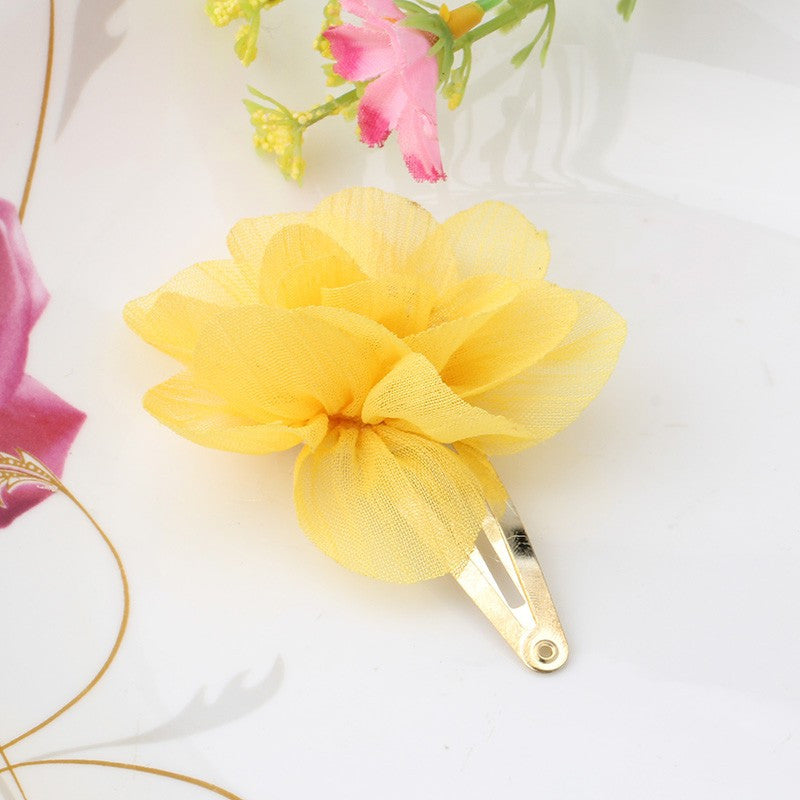 Chiffon Flower Smile Letter Hairpins (Yellow) - meemu