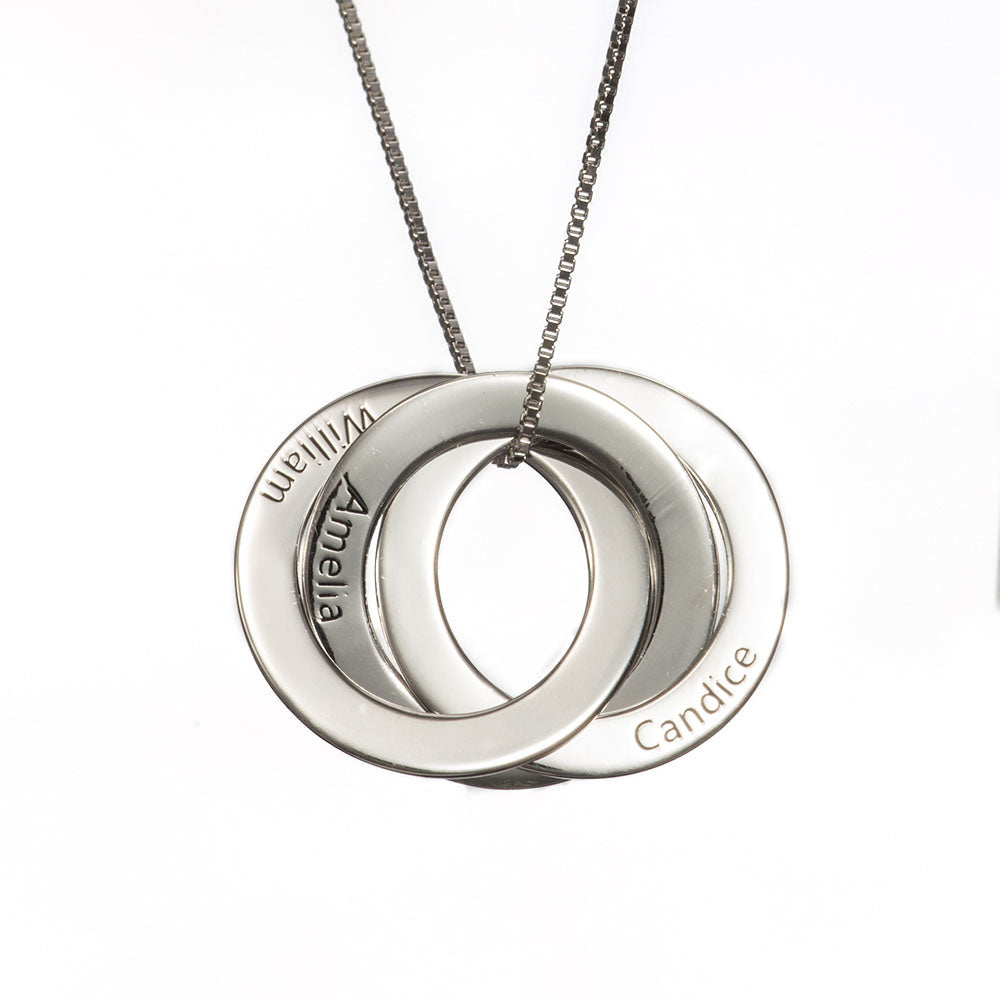 Personalized Three-Name Russian Ring Necklace