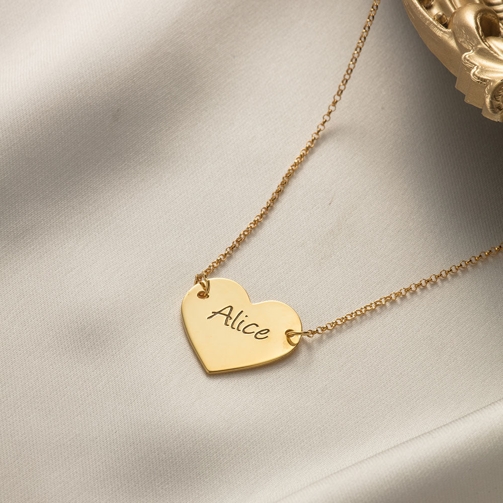 Engraved Name Heart Pendant Necklace in Sterling Silver
