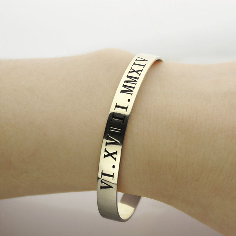 Engraved Birthday in Roman Numeral Cuff Bracelet