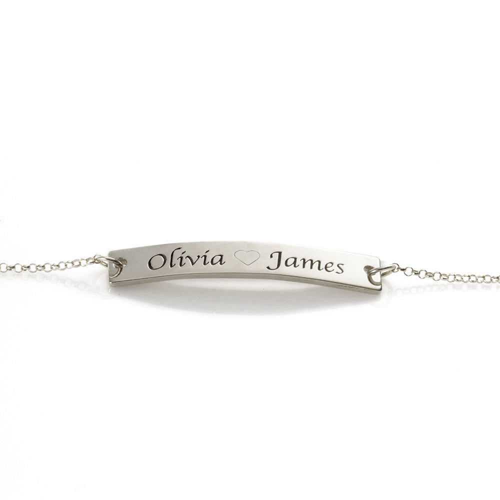 Engraved Two-Name Middle Heart  Bar Bracelet