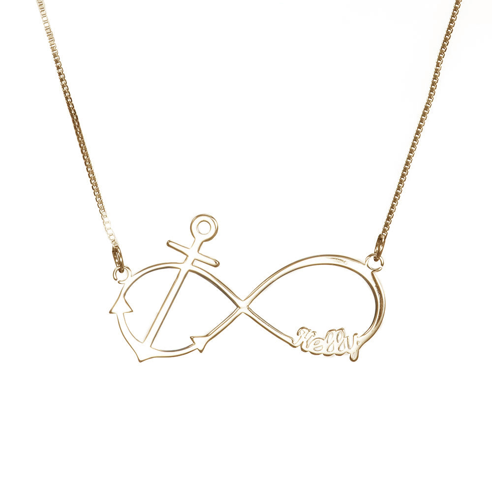 Personalized Infinity Anchor Necklace in Sterling Silver