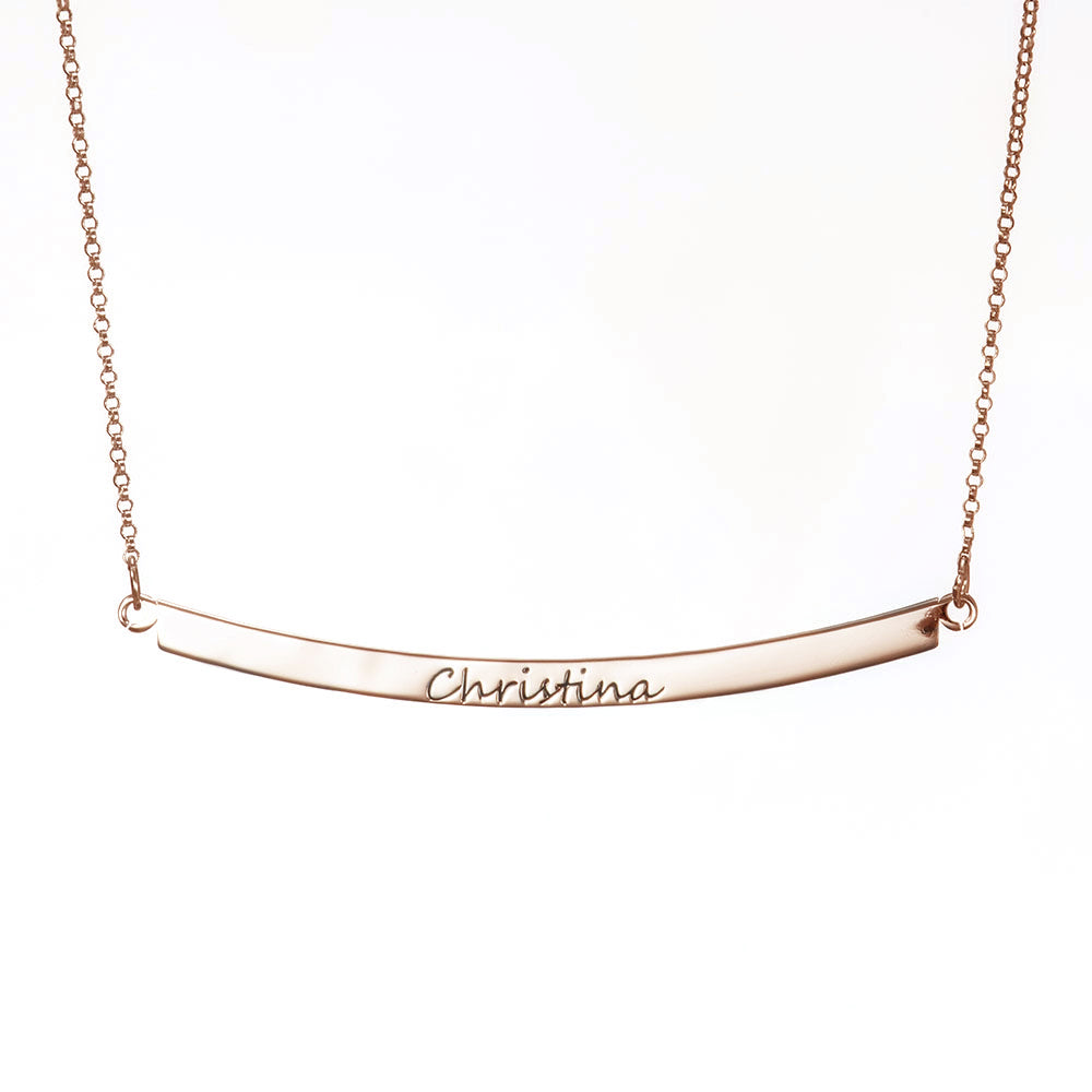 Personalized Curved Bar Necklace in Sterling Silver