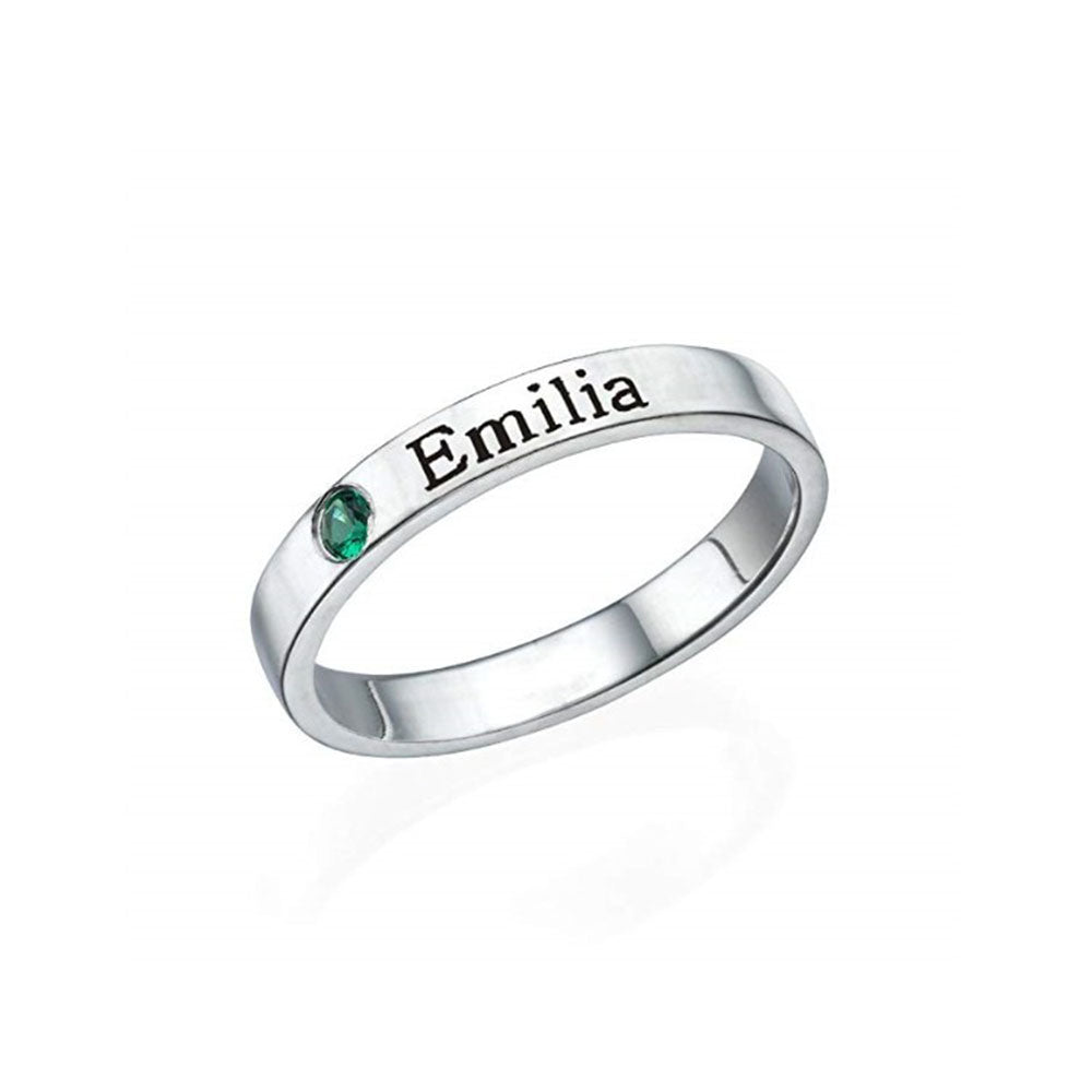 Engraved Ring with Birthstone in Sterling Silver