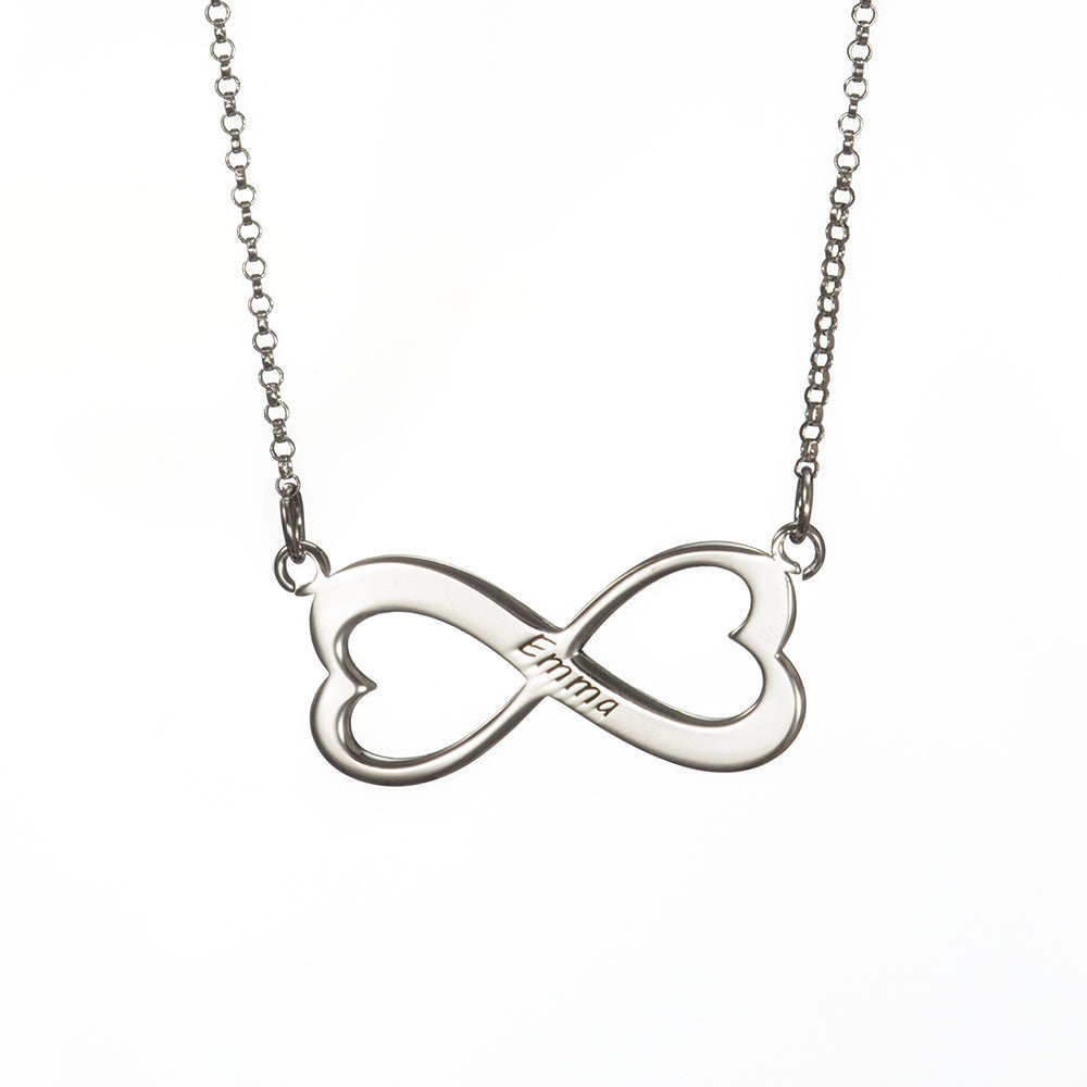 Infinity Heart Engraved Name Necklace