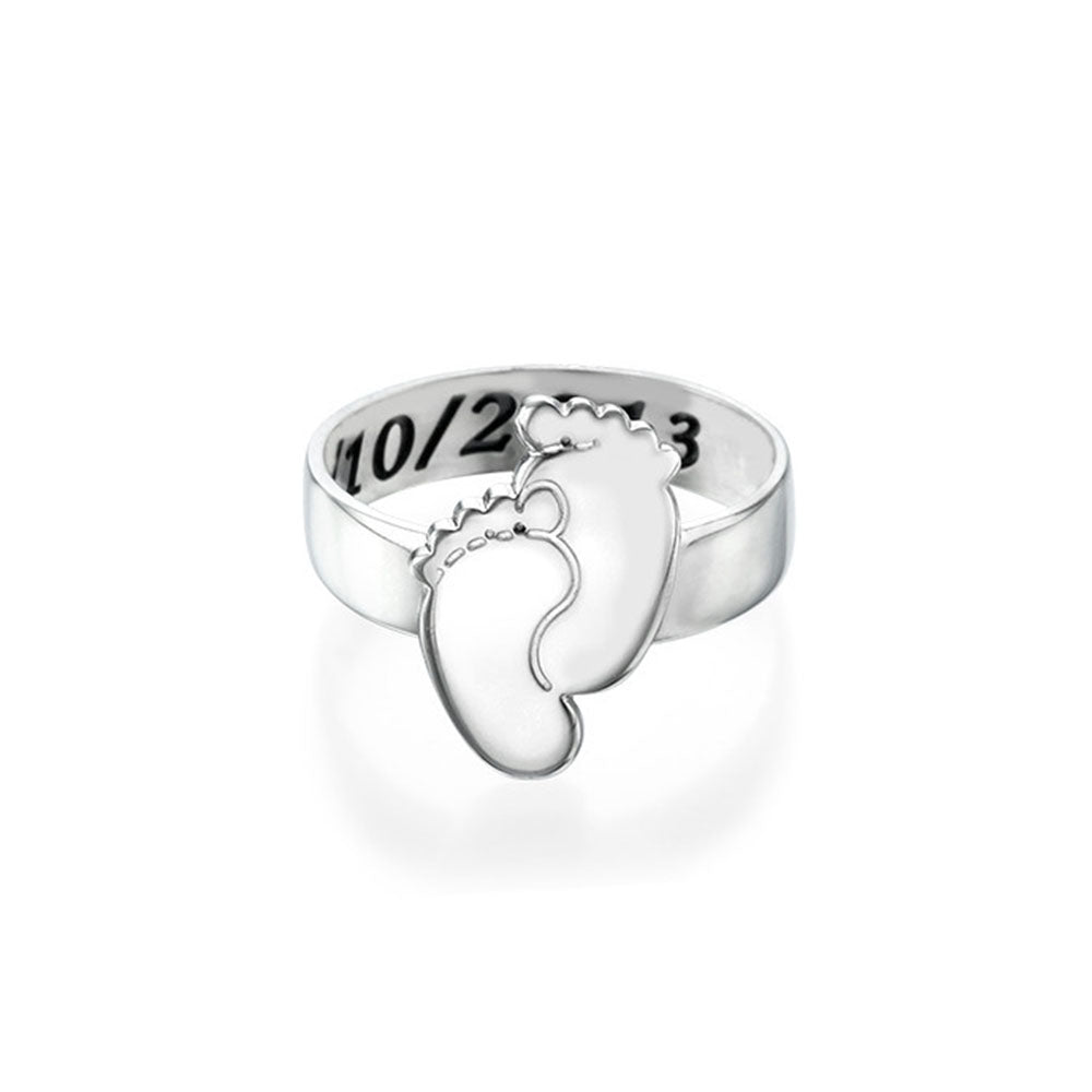 Baby Feet Ring with Inner Engraved Birthday