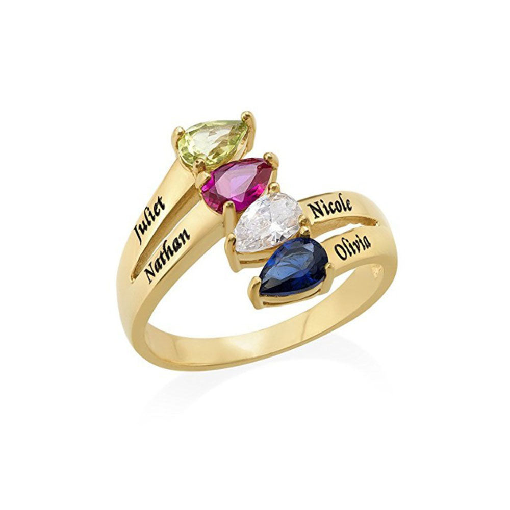 Four-Name Mother Ring with Birthstones in Sterling Silver