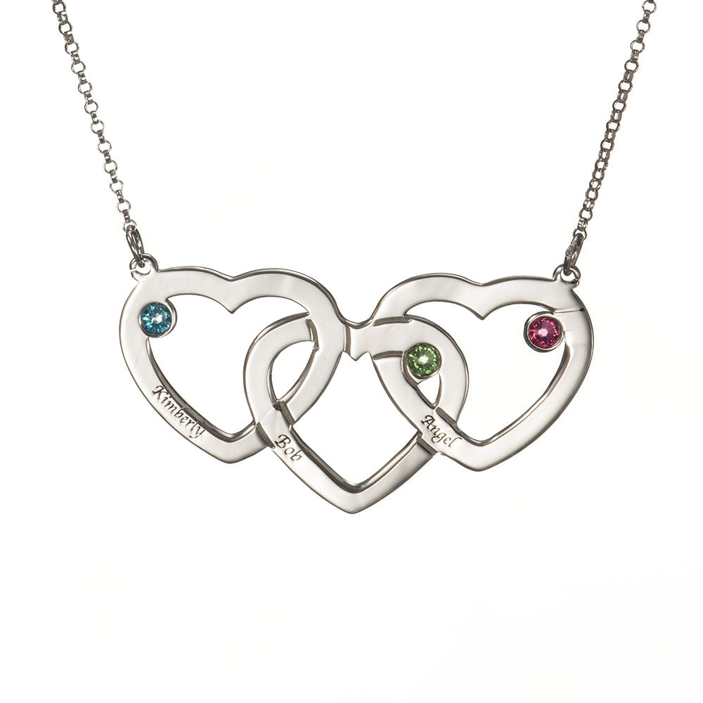 Personalized Intertwined Hearts Necklace with Birthstones in Sterling Silver