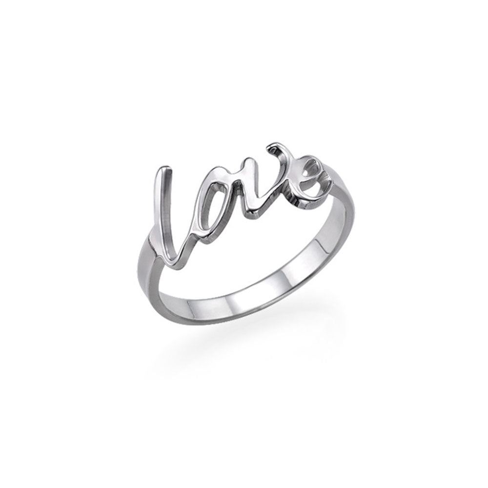 Personalized Script Name Ring in Sterling Silver
