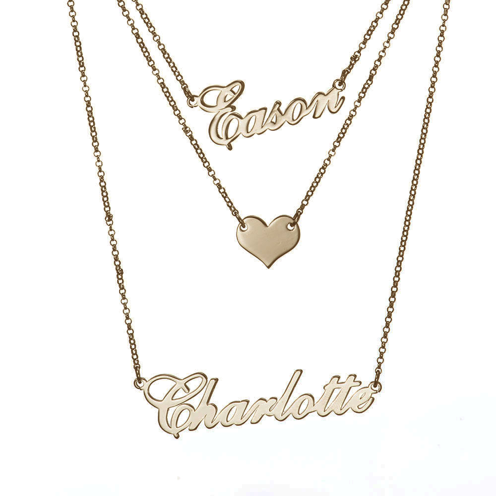 Personalized Layered Two Name Necklaces with Heart