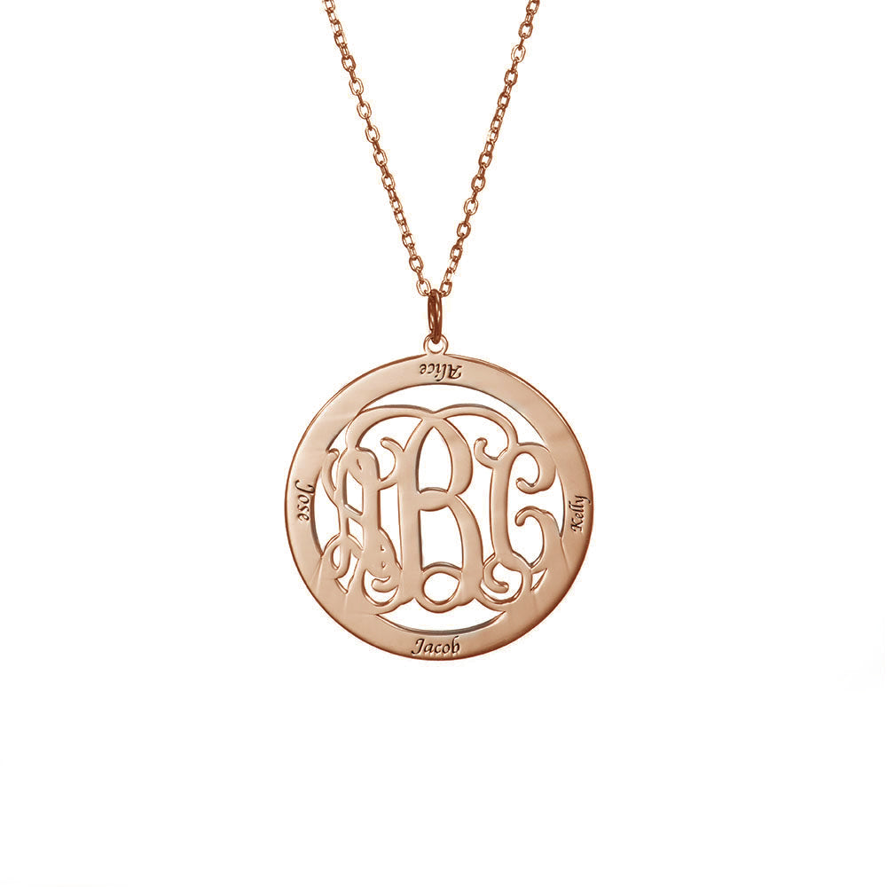 Personalized Circle Monogram Necklace in Sterling Silver with Four Names