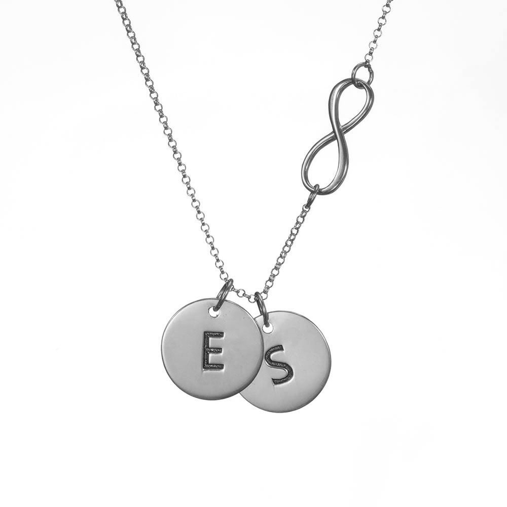 Infinity Necklace with Personalized Initial Charms in Sterling Silver