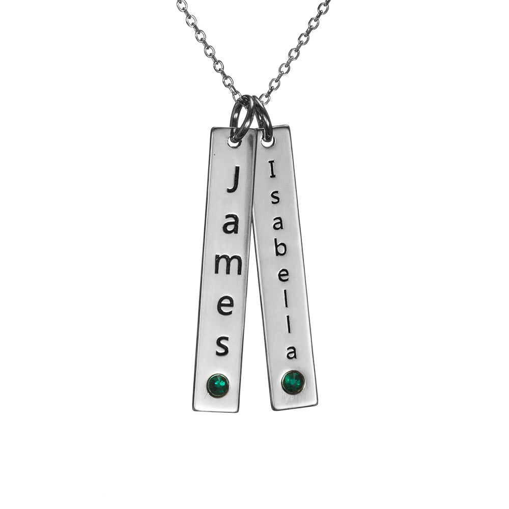 Personalized Sterling Silver Vertical Two-Bar Necklace with Birthstone