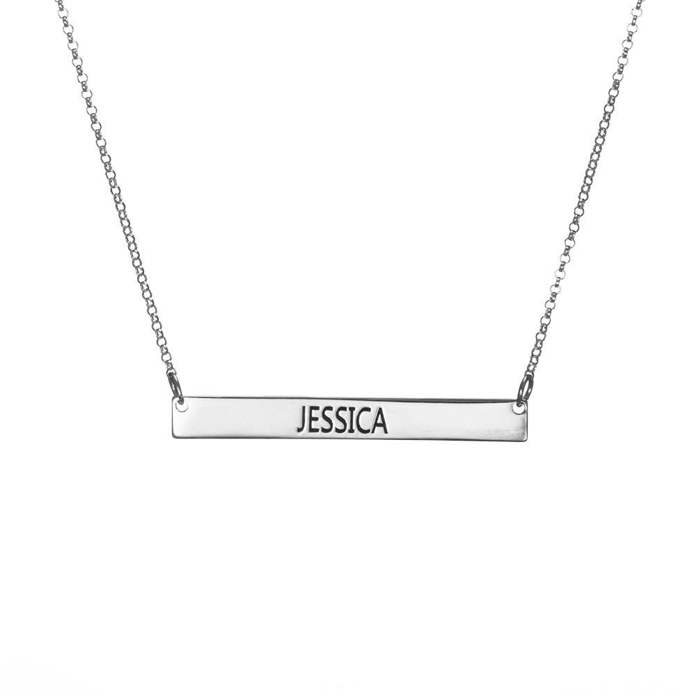 Personalized Bar Necklace in Sterling Silver