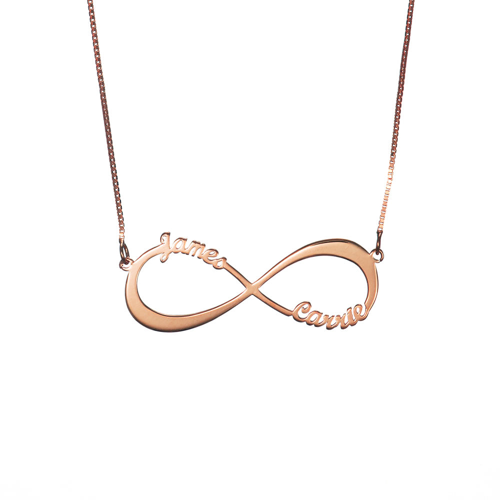 Personalized Infinity Couple Two Name Necklace in Sterling Silver