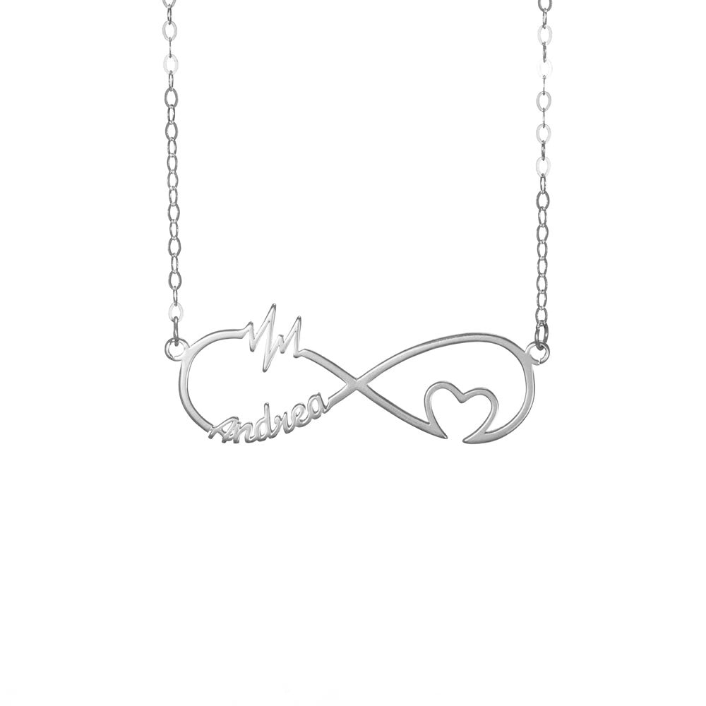 Personalized Infinity Heart Rate One Name Necklace in Sterling Silver