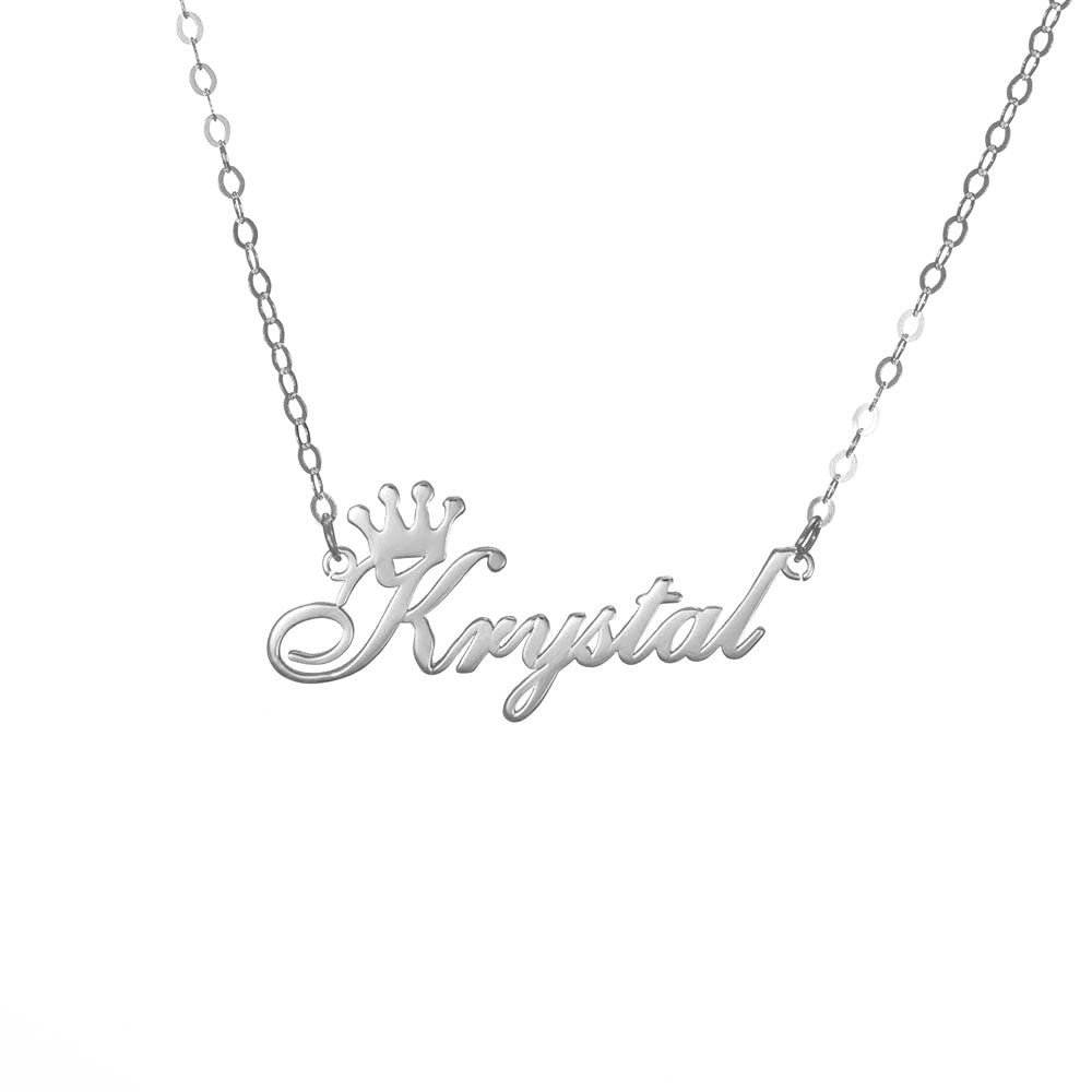 Personalized Side Crown Name Necklace